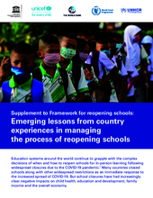 Emerging lessons from country experiences in managing the process of reopening schools – UNICEF, UNESCO, World Bank, WFP, UNHCR - September 2020