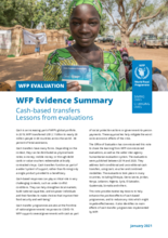 WFP Evidence Summary. Cash-based transfers: lessons from evaluations