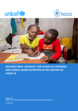 Joint WFP and UNICEF Multisectoral Checklist for School Reopening and School based Nutrition in the context of COVID-19