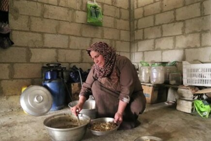 Syria: Food Distribution To Families Sheltering In Part-Built Houses