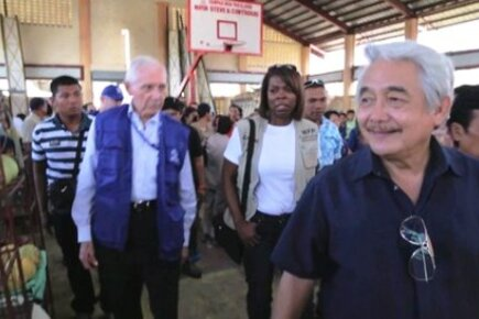 WFP And IOM Chiefs Visit Typhoon-Hit Island