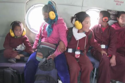 WFP Airlifts Children From A Quake-Hit Monastery In Nepal