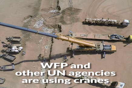 WFP Cranes on the Syria-Jordan Border