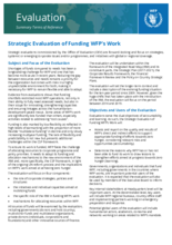 Strategic Evaluation of Funding WFP's Work