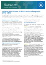 Lebanon Country Strategic Plan Evaluation (2016-2019)